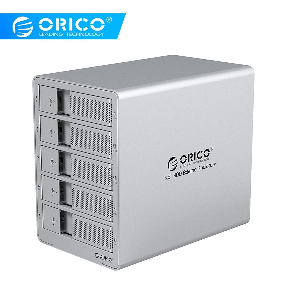 ORICO 5 Bay 3.5 אינץ USB3.0 HDD תחנת עגינה SATA מארז כונן קשיח חיצוני מארז SSD HDD למחשב נייד של כונן דיסק קשיח