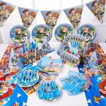101pcs Cartoon Toy Story Disposable Paper Napkins Banner Table Cloth Straws Cup Plates Baby Shower Birthday Party Decoration(China)