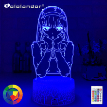 New Led Night Light Zero Two Figure Table 3d Lamp for Bed Room Decor Light Anime Waifu Gift Darling In The Franxx Zero Two Lamp cheap Sololandor CN(Origin) AYG02-NN-636 Night Lights Plastic LED Bulbs Switch Dry Battery HOLIDAY 0-5W 7 Colors Change Wholesale Price