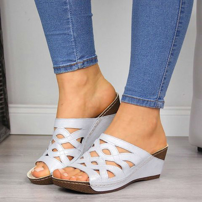 2020 Sandals Women Comfy Slippers Anti-slip Retro Wedge With Thick Bottom Stitching Sandals Ladies Open Toe Beach Casual Shoes