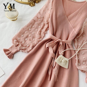 Image 5 - YuooMuoo Romantic Women Knitted Pink Party Dress 2020 Fall Winter V Neck Elegant Chiffon Long Sleeve Sashes Dress Ladies Dress