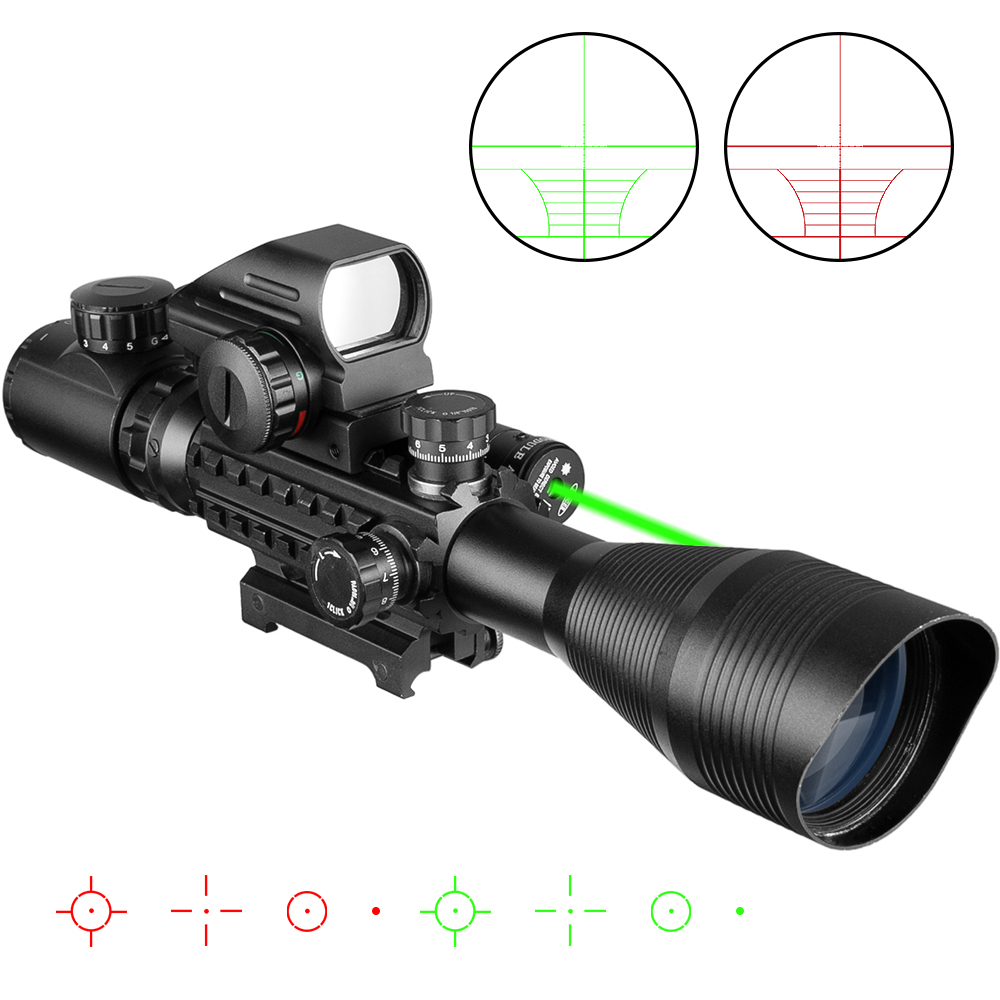 4-16x50 Scope Illuminated Rangefinder Reticle Riflescope Holographic 4 Reticle Sight 20mm Red Green Laser Sight Combo