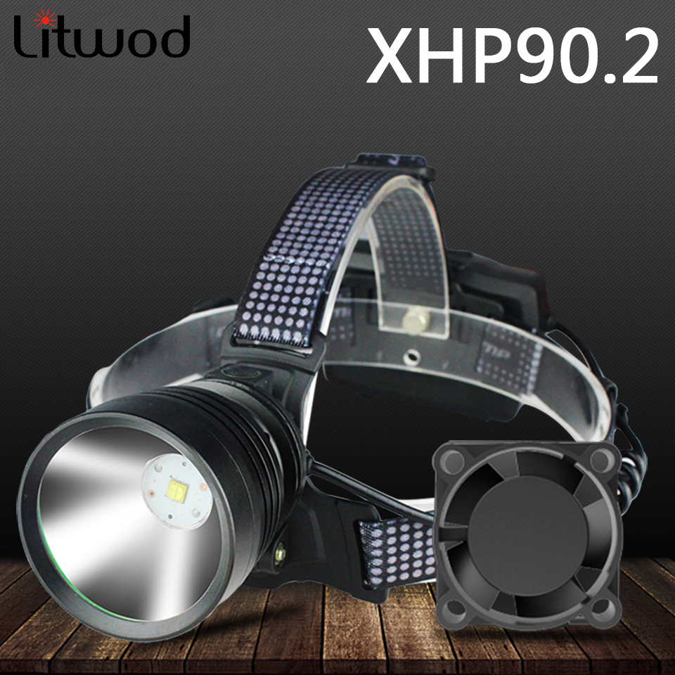 Xhp90 2 Led Headlamp Built-in Cooling Fun Headlight Head Lamp Flashlight Torch Lithium Ion 3  18650 Rchargeable Battery