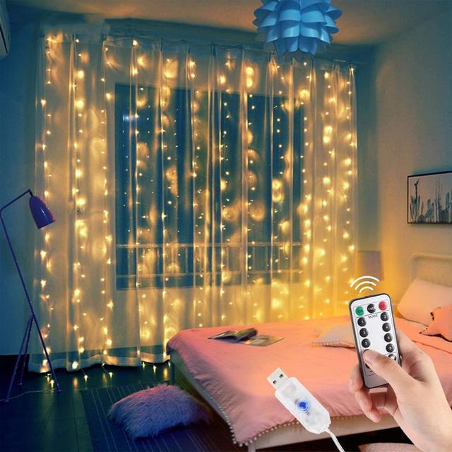 Hot Offer #c3c39   USB Christmas Curtain Light Garland Merry