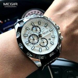 Image 2 - Megir Mens Military Sports Watches Leather Strap Top Brand Chronograph 3 Bar Waterproof Luminous Wrist Watch Man 2096G White