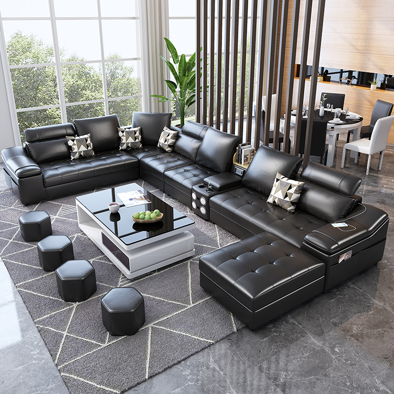 Living room furniture fabric technology leather sofa with coffee table speaker диван 3