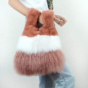 Brand Fox Fur Bags Women Genuine Leather Shoulder Bags Shoulder Bags Female Fleece Woolen Velvet Beach Large Size Women's