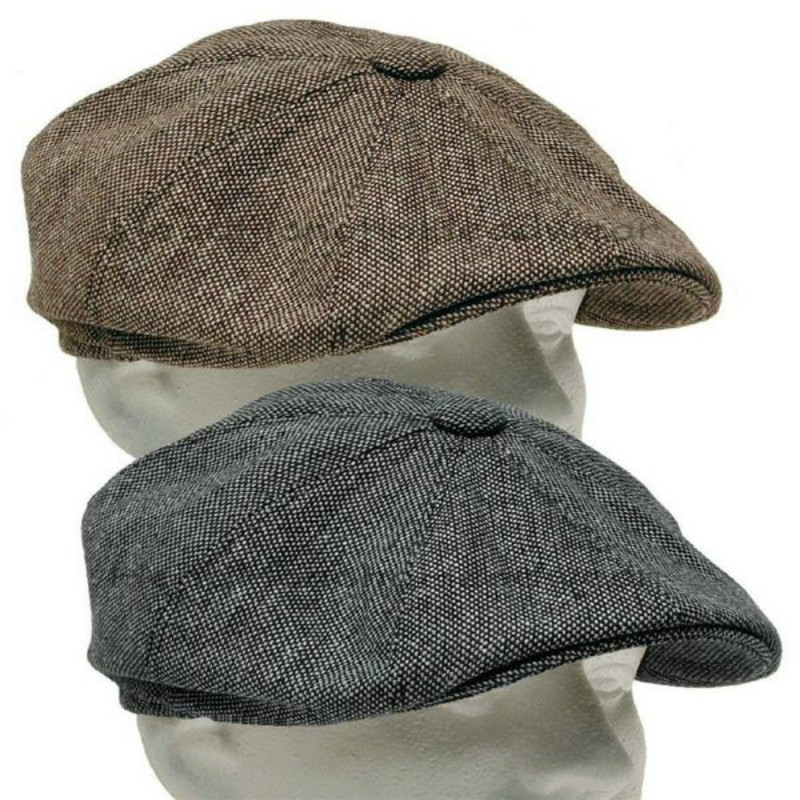 2020 New Men's Herringbone Style Berets Retro Woolen Top Felt Hat Fashion Wild Casual Berets Flat Berets