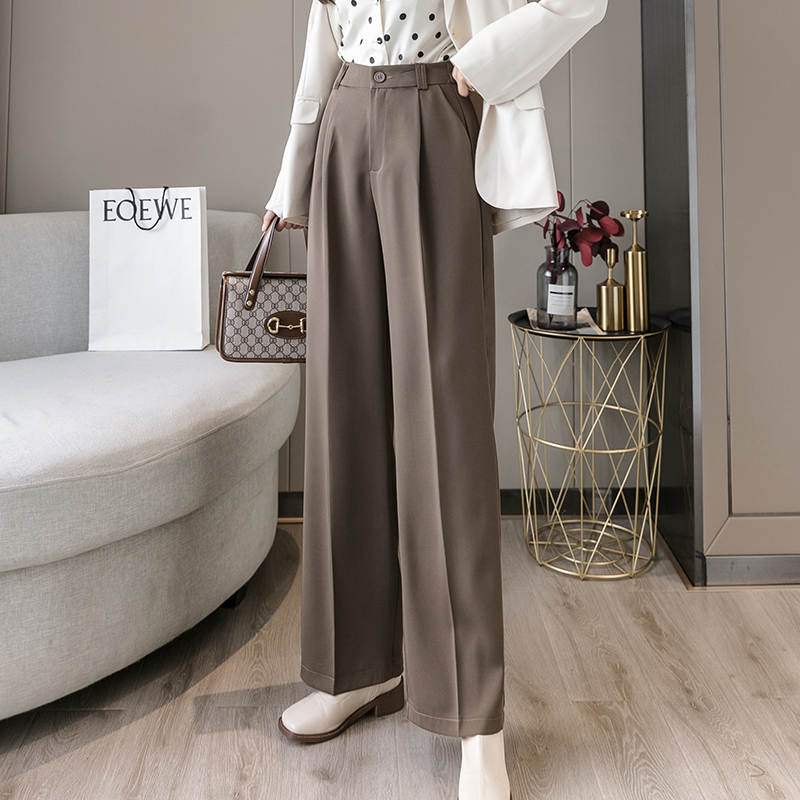 Korean Version Wide Leg Pants Women's 2020 Autumn New Straight Loose High Waist Pants Bold Casual Long Pants Capris 330G