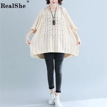 RealShe Sweater Women 2019 O-Neck Half Sleeve Hollow Out Solid LooseTops Sweaters for Spring Autumn Woman Pullover