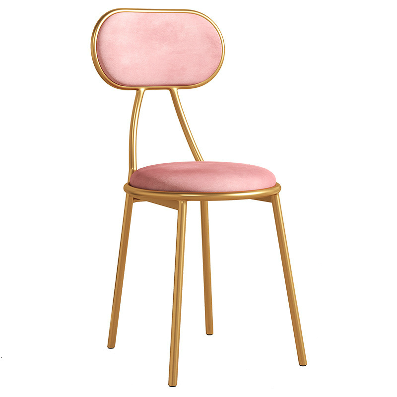 Leisure Time Backrest Dining Chair Golden Turn Restaurant Tea With Milk Shop Iron Chair Household Bedroom Dressing Chair
