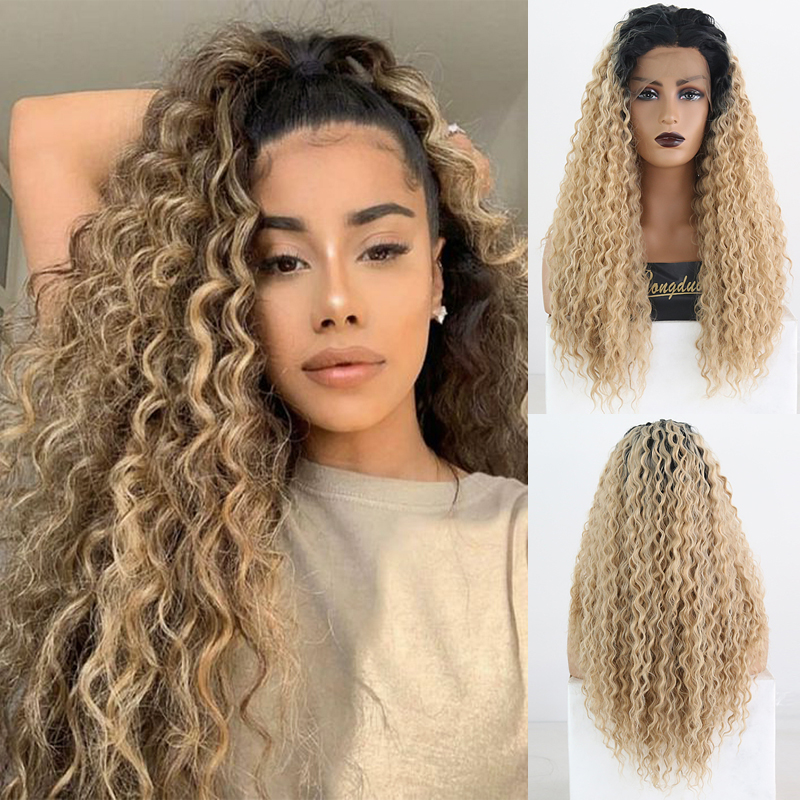 RONGDUOYI Long Mix Blonde Wig Kinky Curly Fiber Hair Synthetic Lace Front Wigs For Women Middle Part Heat Resistant Blonded Wig