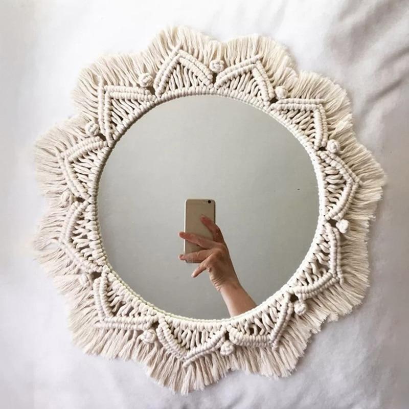 Macrame Mirror Handmade Tapestry Makeup Mirror Compact Bohemia Decoration Home Bedroom Decorative Mirrors Wall Mirrors