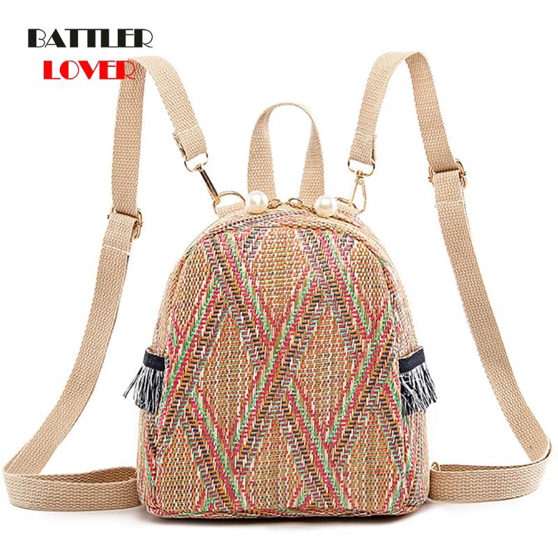 2019 Fashion Pearl Straw Backpack Women Teenager Girls Travel Shoulder Schoolbag Chic Backpack Female Small Summer Beach Bagpack