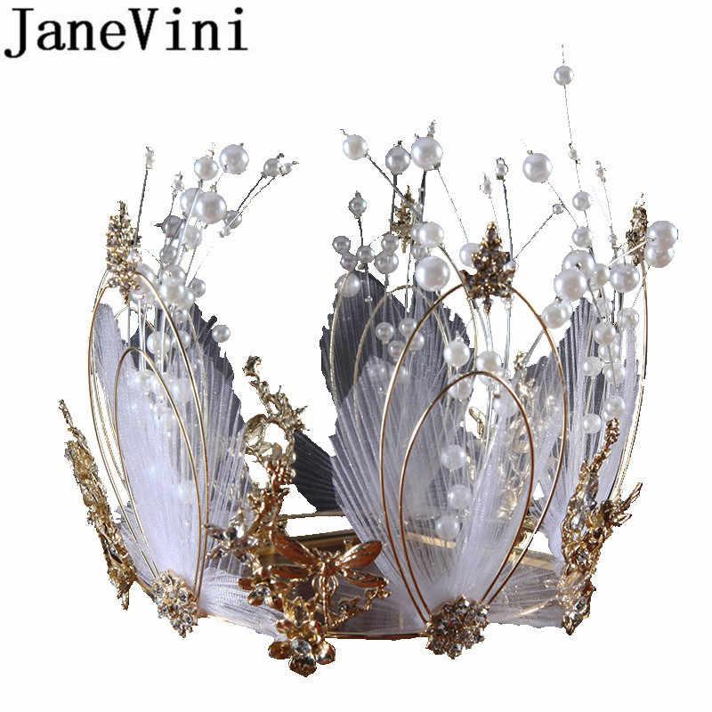JaneVini Baroque Gold Crown สำหรับคริสตัลสีขาวไข่มุกโลหะ Headband เจ้าสาวงานแต่งงาน Tiaras กับต่างหูเครื่องประดับผม 2019