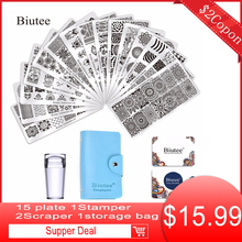15Pcs Different Desgins Nail Plates NaiL Art Stamp Stamping Plates With 1Pc Double-side Stamper DIY Image Manicure Tools Set недорого