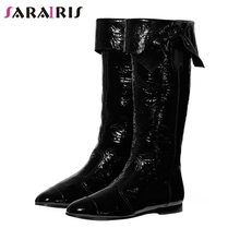 SARAIRIS New Brand Designer Plus Size 35-44 mid-calf Boots Women 2019 slip-on Concise Black Casual Flat Shoes Woman