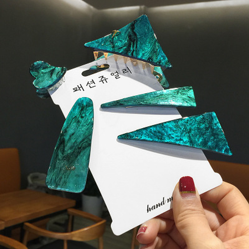Vintage Emerald Series Geometrical Triangle Hairpins And Grasp Clip Woman Personality Temperament Hair Clip Hair Accessories