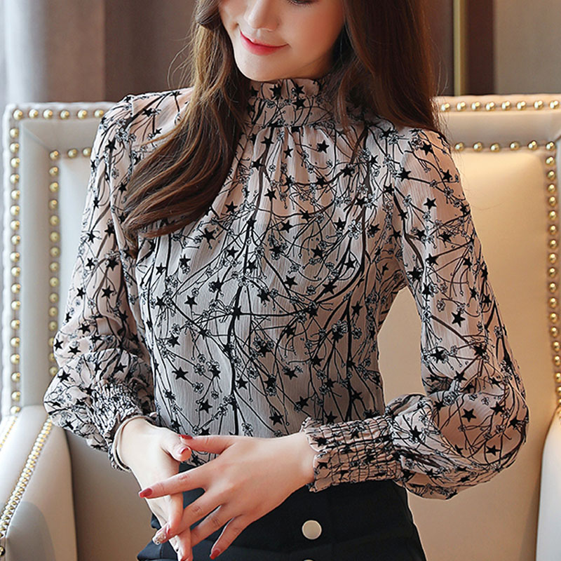 2021 Autumn Spring Women Chiffon Blouses Casual Stand Collar Floral Women Clothing Long Sleeve Printed shirt Women Tops 6197 50 3