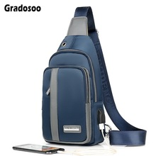 цены Gradosoo Waterproof Male Bag USB Charging Shoulder Crossbody Bags For Men Chest Bag Casual Diagonal Package Messenger Bag LBF676