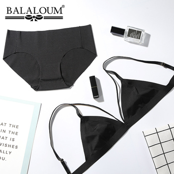 Balaloum Women's Sexy Triangle Bralette Bras Thin Cup Underwear Panty Sets Comfortable Lift Up Seamless Lingerie Brassiere Brief