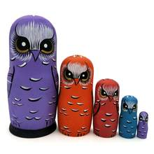 Russian Matryoshka Dolls Wood Five-layer Purple Owl Nesting Dolls Gift Russian Traditional Feature Ethnic Style Unisex DIY Dolls(China)