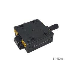 PT SD308 מדויק ידני Goniometer שלב, נמוך פרופיל Goniometer פלטפורמה, אופטי הזזה שולחן, סיבוב טווח: +/ 10 תואר