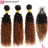 """DreamDiana Ombre Malaysian Curly Hair With Closure T1B 30 12""""-26""""L Remy Hair With Closure 100% Ombre Human Hair With Closure"""