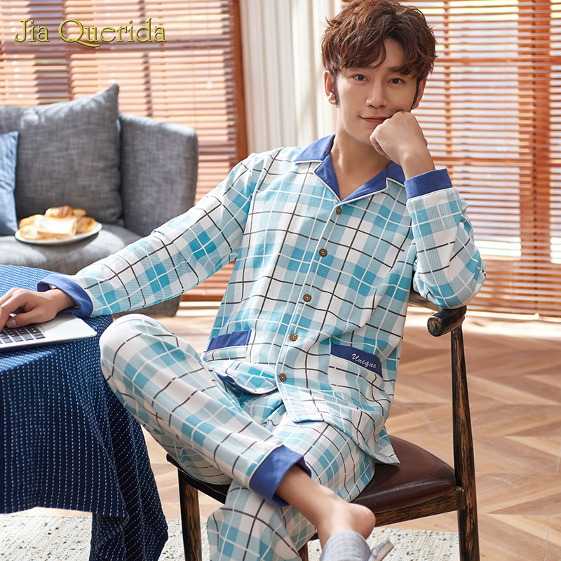 New Homeclothes Turn Down Collar Pajamas Sleeping Suits For Men Pajamas Sets Pj Set Button Long Sleeve Long Pants Front Pocket