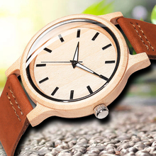 Casual Simple Bamboo Wooden Wristwatches mens Dial Leather Wood Watch