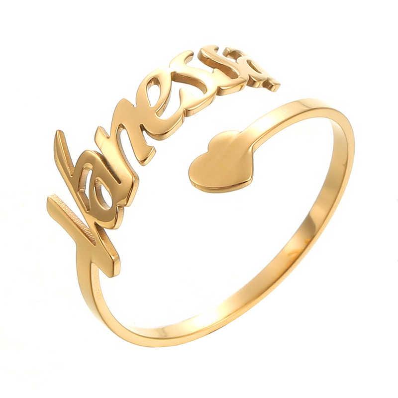CUSTOM ชื่อแหวนหัวใจส่วนบุคคลสแตนเลสเครื่องประดับขนาดป้ายแหวนทองคู่ผู้หญิงของขวัญวันวาเลนไทน์