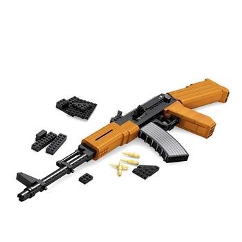 AK 47 blok Model pistolet zabawki dla dzieci Tabanca wojskowe zabawki prawdziwy rozmiar pistolety blok budowlane zabawki konstrukcyjne tanie i dobre opinie FARFEJI Z tworzywa sztucznego Military 14Y Dorośli 1 12 B404