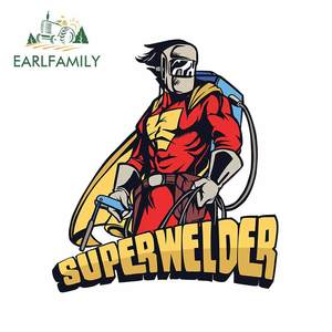 EARLFAMILY 13cm x 11.6cm For Superhero Welding Welder Motorcycle Car Stickers Scratch-Proof Decal Laptop Windows Decoration