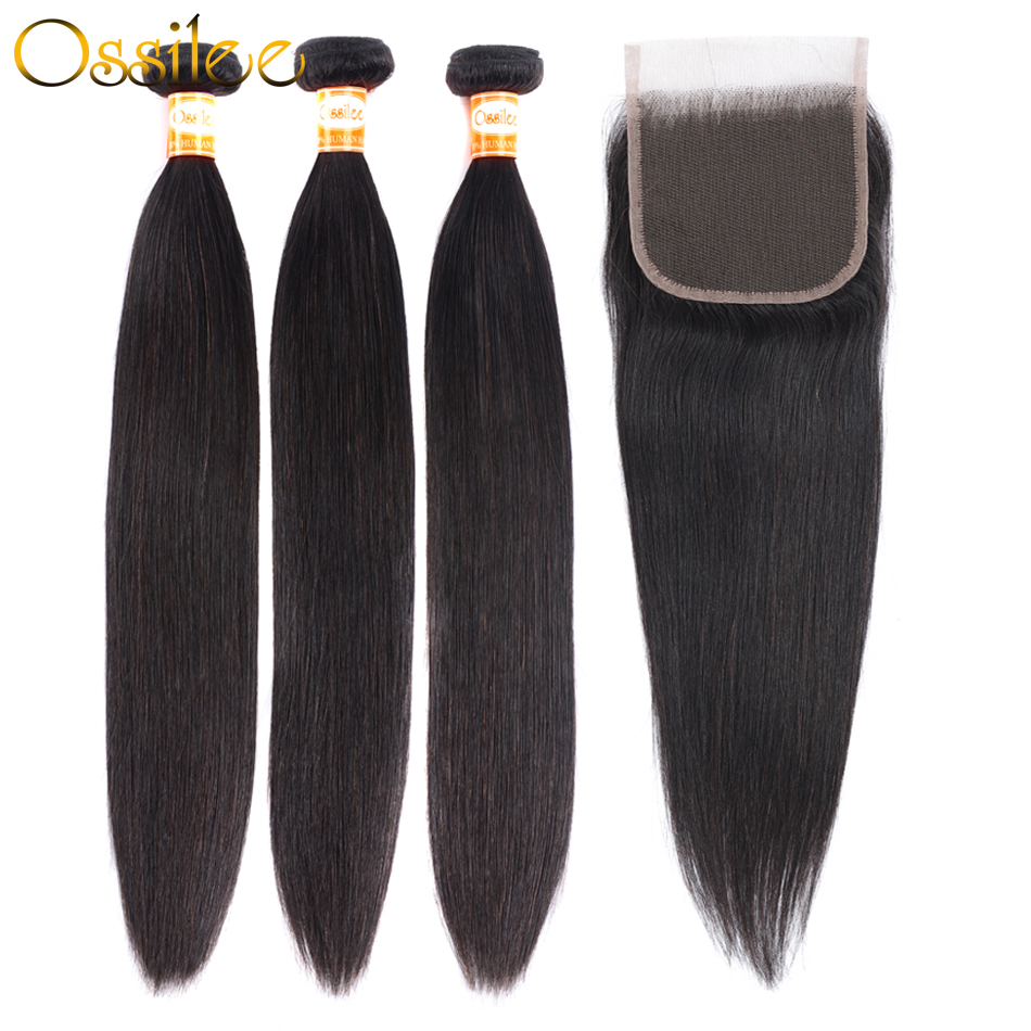 Ossilee Straight Hair Bundles With Closure Human Hair Bundles With Closure Remy Peruvian Hair 3 Bundles With Closure MiddleRatio