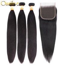 Ossilee – lot de 3 mèches péruviennes Remy avec Closure, cheveux naturels lisses