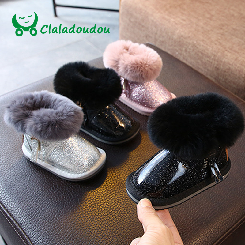 Claladoudou 12-15.5CM Brand Baby Snow Boots Pu Warm Plush Thicker Shoes Baby Girls Winter Ankle Boots Water-proof Winter Booties