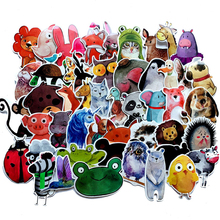 50pcs/lot Waterproof Ink wind Cute Cartoon Animal Stickers DIY For Car Laptop Phone Pad Bicycle Decal Kids Gift Cat Pig Dog frog