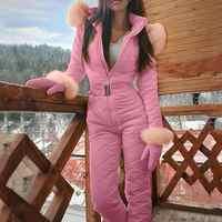 Moda damska jednoczęściowy kombinezon narciarski dorywczo gruby zimowy ciepły Snowboard Skisuit Outdoor Sports narciarstwo spodnie zestawy Zipper kombinezon narciarski