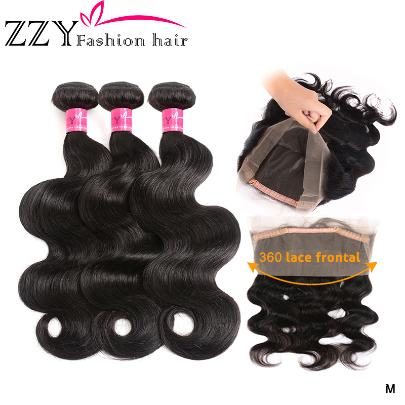 ZZY Peruvian Body Wave Bundles With 360 Lace Frontal Body Wave Bundles With Frontal Closure Pre-plucked Non -remy Hair Extension