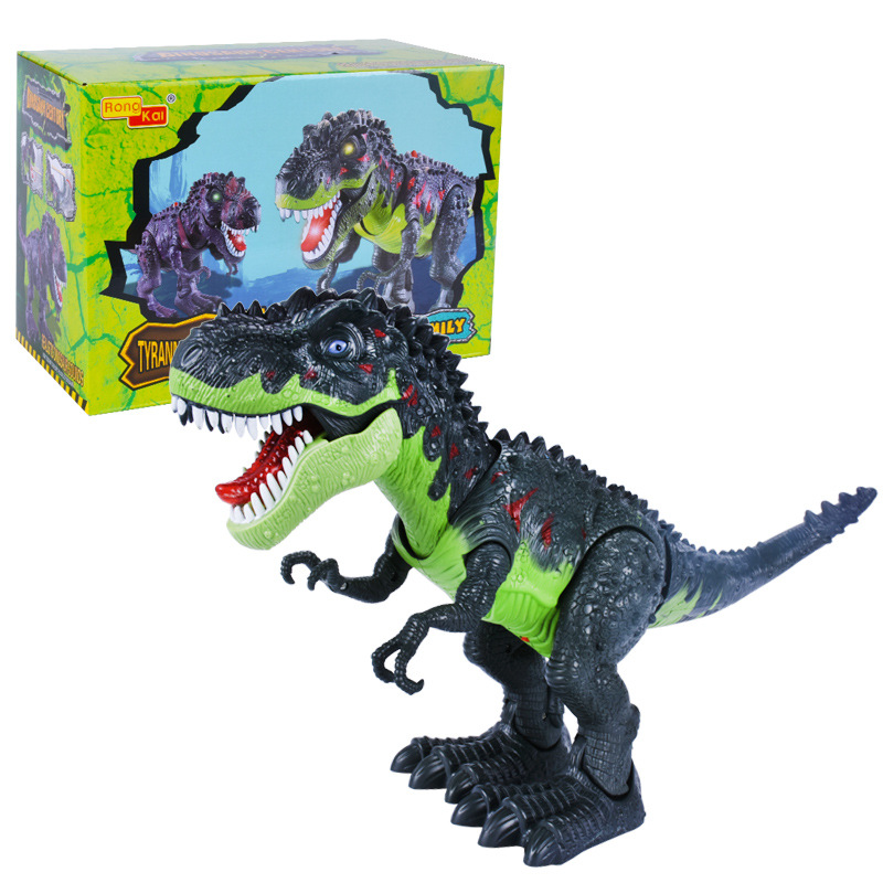 [Funny] Jurassic World Electric Dinosaur Flash And Sound T-rex Talking Toy Walk Talk Interactive Toy Moving Dinosaur Model Doll
