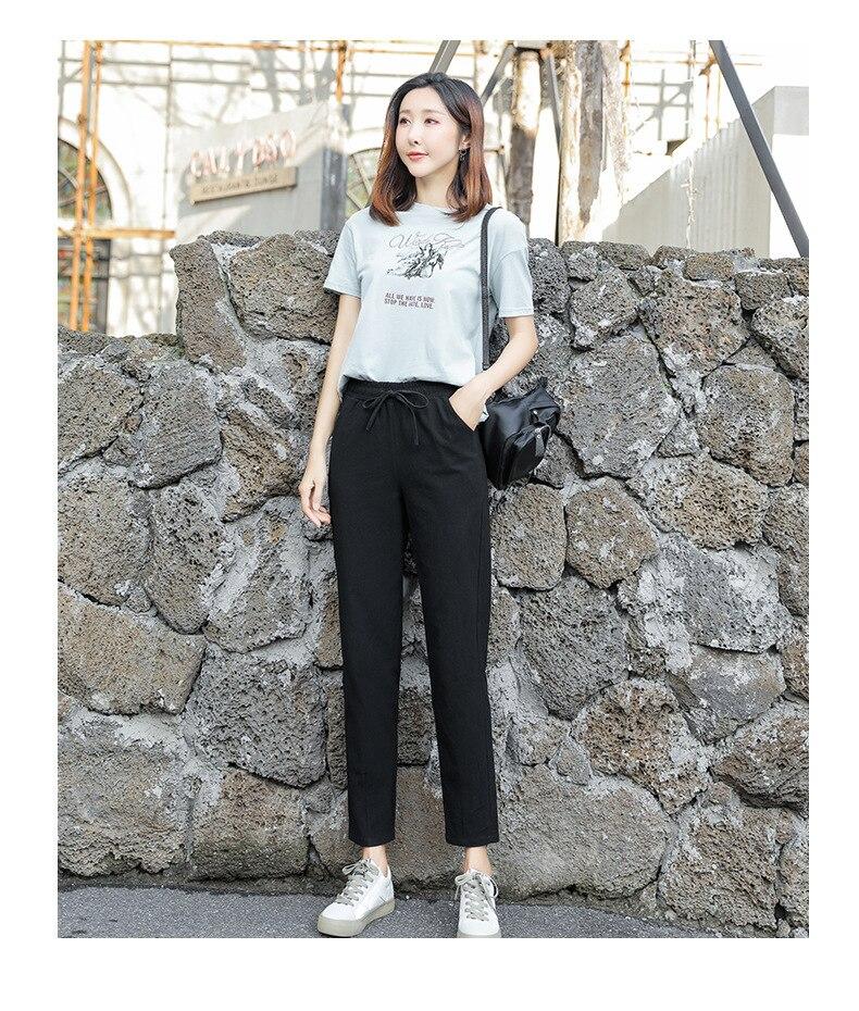Весенне-летние повседневные брюки модные женские брюки из хлопка и льна штаны-шаровары с эластичной резинкой на талии свободные брюки-кара...