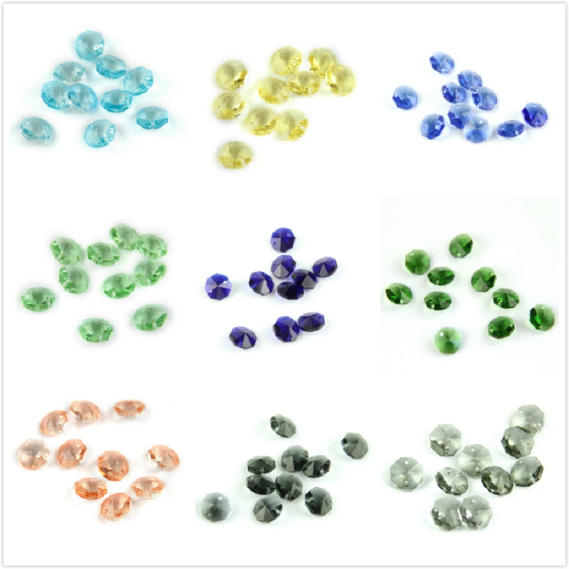 Normal Colors 14mm Crystal Glass Octagon Beads 2 Holes Crystal Accessories for Loose Prism Pendants|Chandelier Crystal| |  - title=