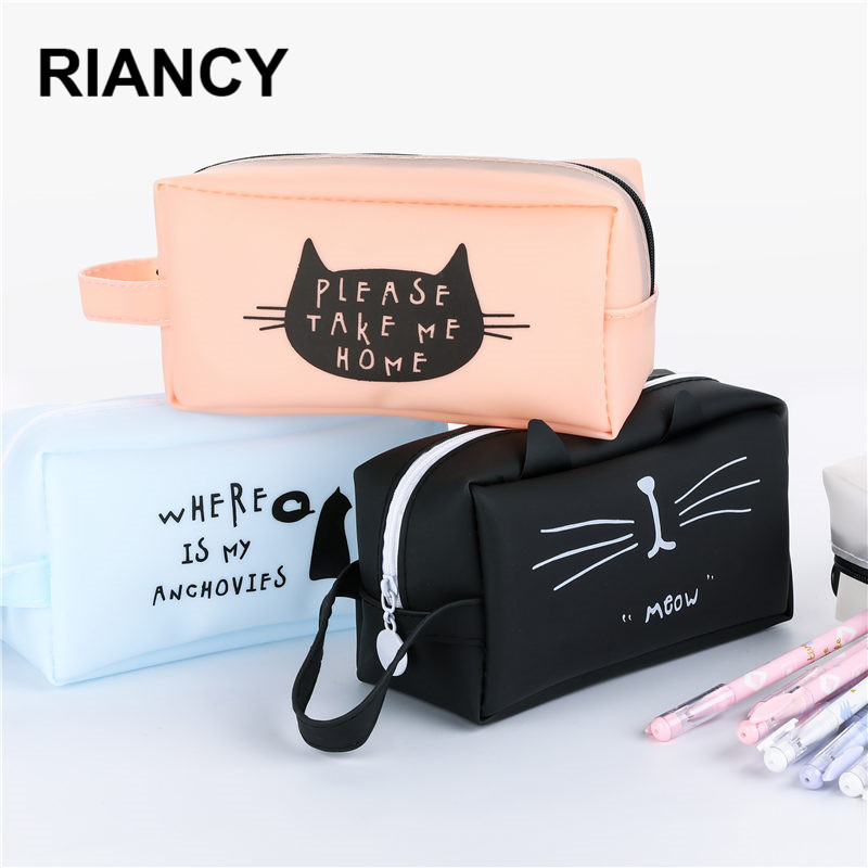 Cute Cartoon Pencil Case Large Capacity School Pen Box Cute Creative Cat Cases Bags Office School Stationary Supplies 04892