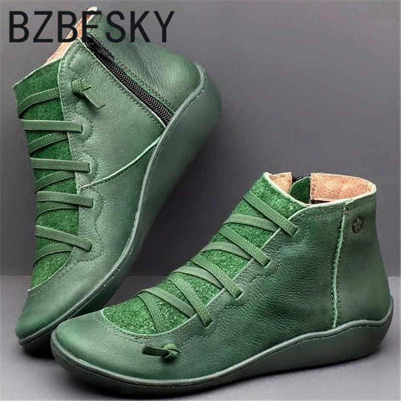 ฤดูใบไม้ร่วงใหม่ฤดูหนาว Retro Punk ผู้หญิงรองเท้าแฟชั่นรองเท้าหนังแท้ Zapatos De Mujer WARM Botas Mujer
