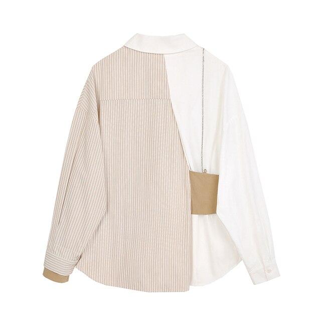 women's shirt 2020 New Lapel Striped Big Size Fashion Tide Spring Autumn Women Khaki Blouse  Long Sleeve Loose Fit Shirt 2