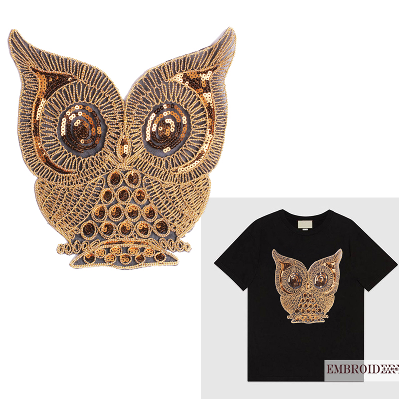 Cat Gold Brown Sequins Embroidered Animal Tshirt Animal Patch Glitter Applique