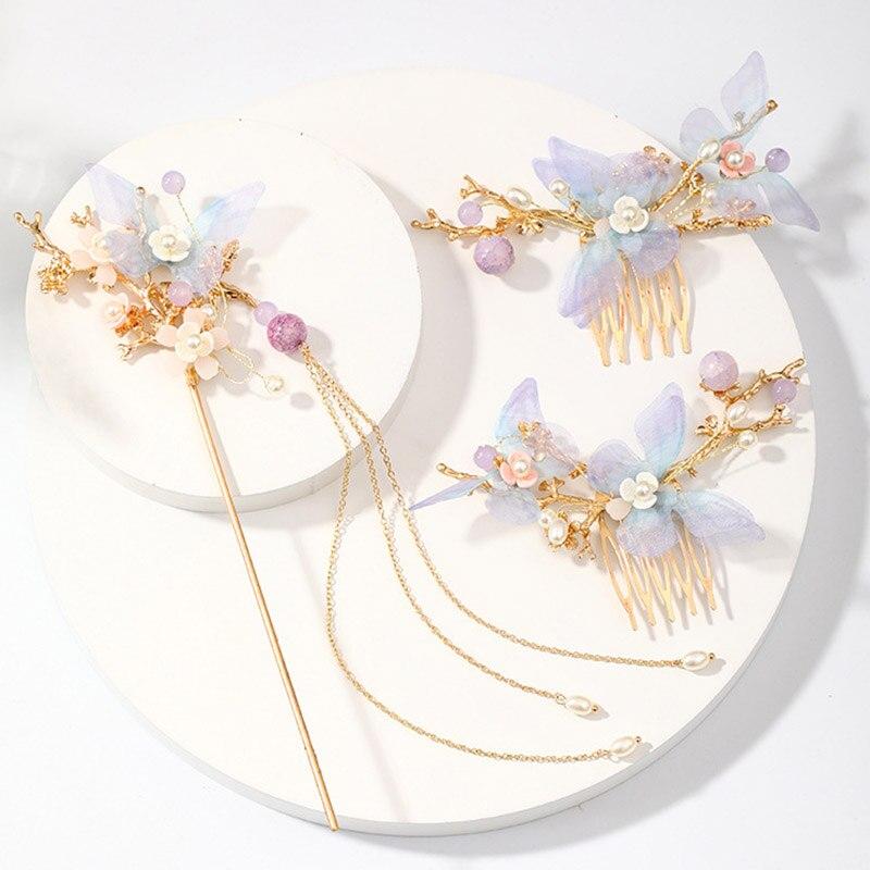 FORSEVEN נשים בנות פרח פנינים ארוך ציצית Headpieces סיכות מקלות שיער קומבס תכשיטי סטים סיני שיער אבזרים
