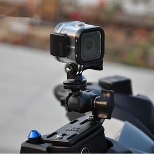 Image 3 - 오토바이 브레이크/클러치 리저버 커버 마운트 및 더블 소켓 암 + Gopro 마운트 볼 헤드베이스 garmin Sjcam 용