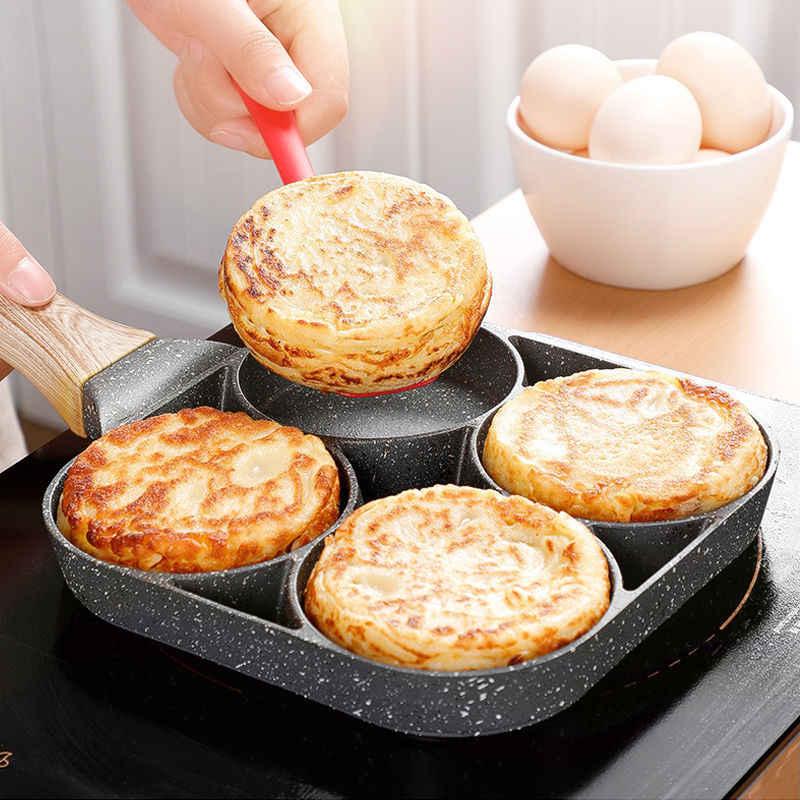 Vaso de ovos fried, pote antiaderente de fundo plano para casa mini molde de ovos escalado hamburgo de 4-buraco pequeno ovo frito usar