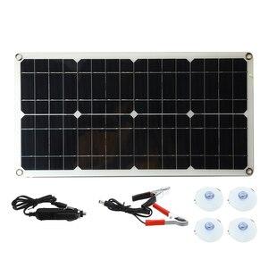 Image 4 - A pilha monocristalina do painel solar do silicone 50 w para a relação dobro 12 v/5 v do usb do isqueiro dos carregadores do telefone da pilha da bateria